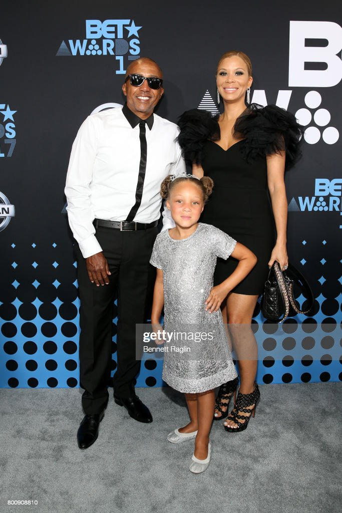 Kevin Liles, Erika Liles and daughter Genevieve (C) at the 2017 BET Awards at Staples Center on June 25, 2017 in Los Angeles, California.