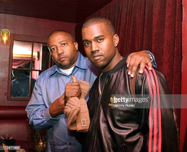 Kevin Liles of Def Jam and Kanye West during Kanye West Performs At SOB's October 1 2003 at SOB's in New York City New York United States