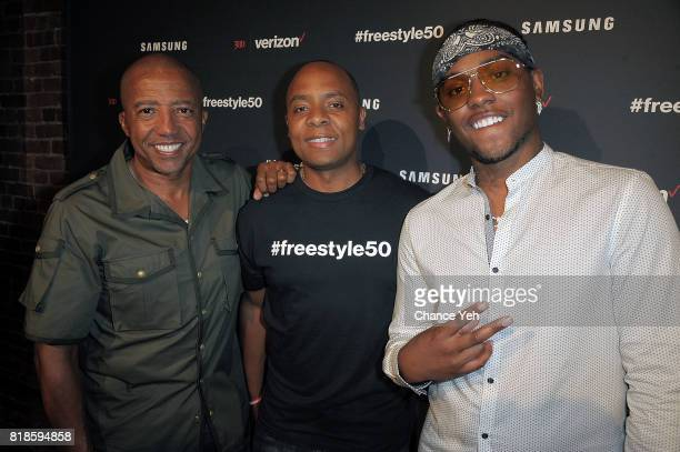 Kevin Liles Travis Toliver and London On Da Track attend Verizon 300 Entertainment launch of #freestyle50 at Marquee on July 18 2017 in New York City
