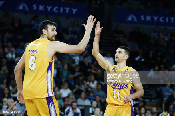 Kevin Lisch and Andrew Bogut of the Kings celebrate during the round two NBL match between the New Zealand Breakers and the Sydney Kings at Spark...