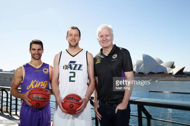 Kevin Lisch of the Sydney Kings Joe Ingles of the Utah Jazz and Sydney Kings coach Andrew Gaze pose during an NBL Media Opportunity at Cruise Bar on...
