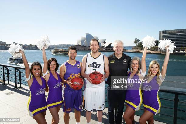 Kevin Lisch of the Sydney Kings Joe Ingles of the Utah Jazz and Sydney Kings coach Andrew Gaze pose with Sidney Kings cheerleaders during an NBL...