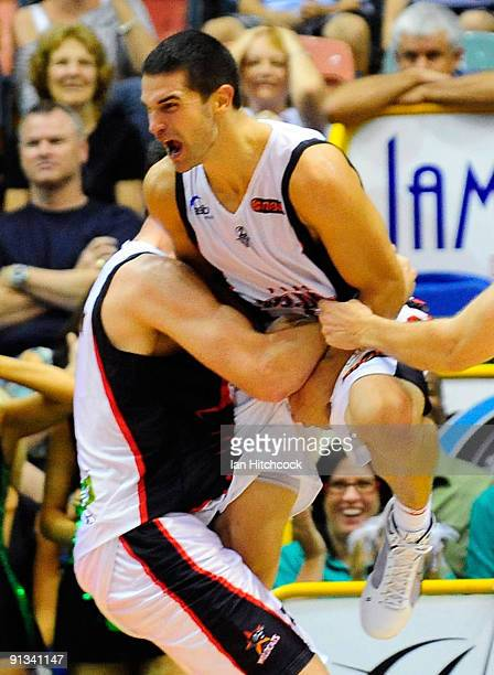 Kevin Lisch of the Wildcats celebrates after shooting the game winning three pointer in the last second during the round two NBL match between the...