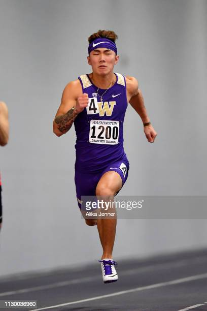 Kevin Liu of the Washington Huskies competes in the men's 60 meter dash at Dempsey Indoor Center on February 15 2019 in Seattle Washington