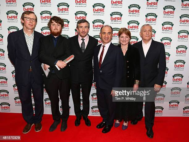 Kevin Loader guest Steve Coogan Armando Iannucci Felicity Montagu and Simon Greenall pose in the press room with the award for Best Comedy presented...