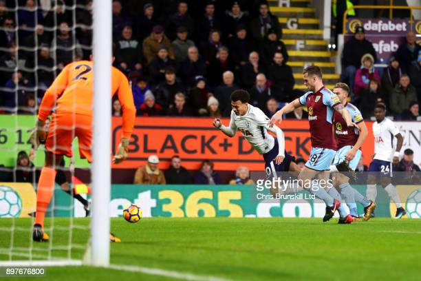Kevin Long of Burnley fouls Dele Alli of Tottenham Hotspur for a penalty during the Premier League match between Burnley and Tottenham Hotspur at...
