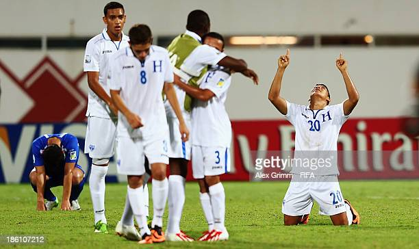 Kevin Lopez of Honduras celebrates after the FIFA U17 World Cup UAE 2013 Round of 16 match between Honduras and Uzbekistan at Sharjah Stadium on...