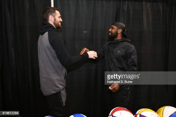 Kevin Love and Kyrie Irving of Team LeBron shake hands prior to the NBA AllStar practice as part of the 2018 NBA AllStar Weekend on February 17 2018...
