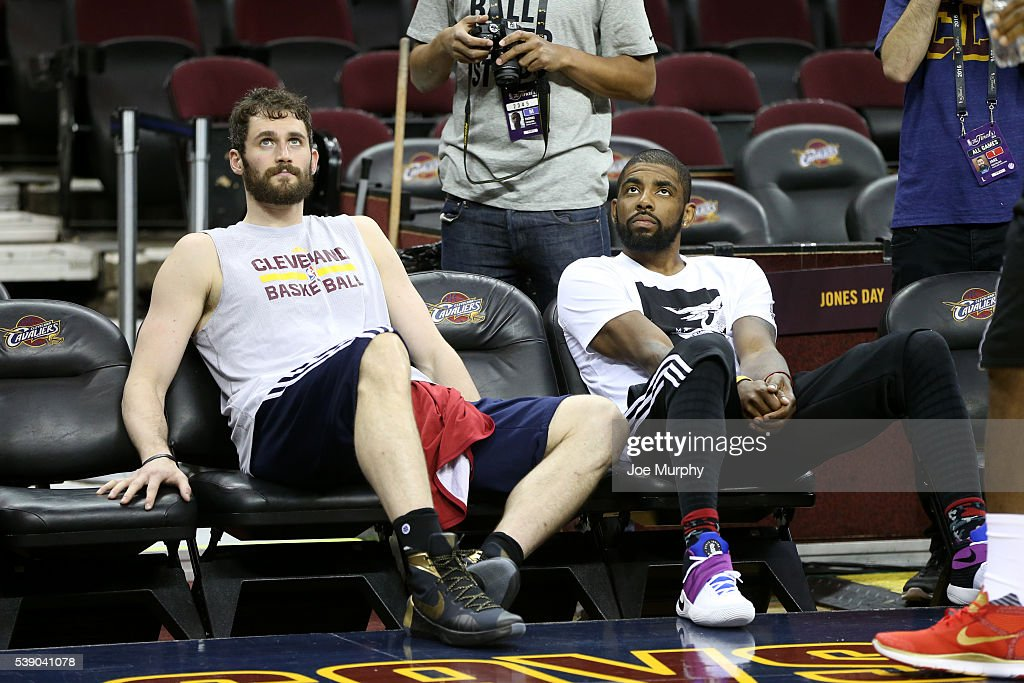 Kevin Love #0 and Kyrie Irving #2 of the Cleveland Cavaliers during practice and media availability as part of the 2016 NBA Finals on June 9, 2016 at Quicken Loans Arena in Cleveland, Ohio.