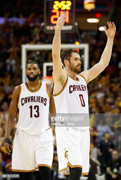 Kevin Love and Tristan Thompson of the Cleveland Cavaliers react in the third quarter against the Boston Celtics during Game Four of the 2017 NBA...