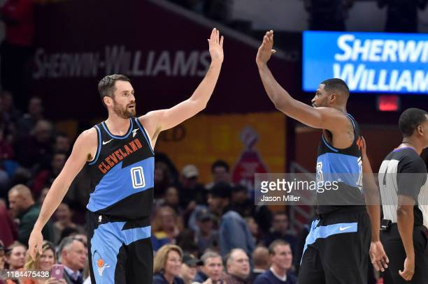 Kevin Love celebrates with Tristan Thompson of the Cleveland Cavaliers during the first half against the Indiana Pacers at Rocket Mortgage Fieldhouse...