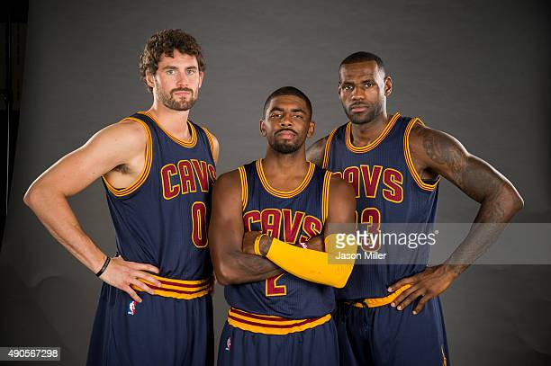 Kevin Love Kyrie Irving and LeBron James of the Cleveland Cavaliers during the Cleveland Cavaliers media day at Cleveland Clinic Courts on September...