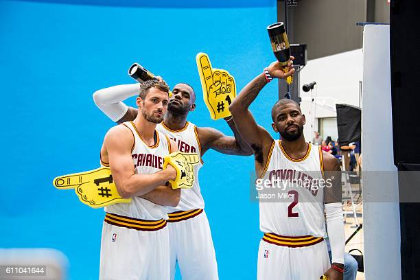 Kevin Love LeBron James and Kyrie Irving during media day at Cleveland Clinic Courts on September 26 2016 in Cleveland Ohio NOTE TO USER User...