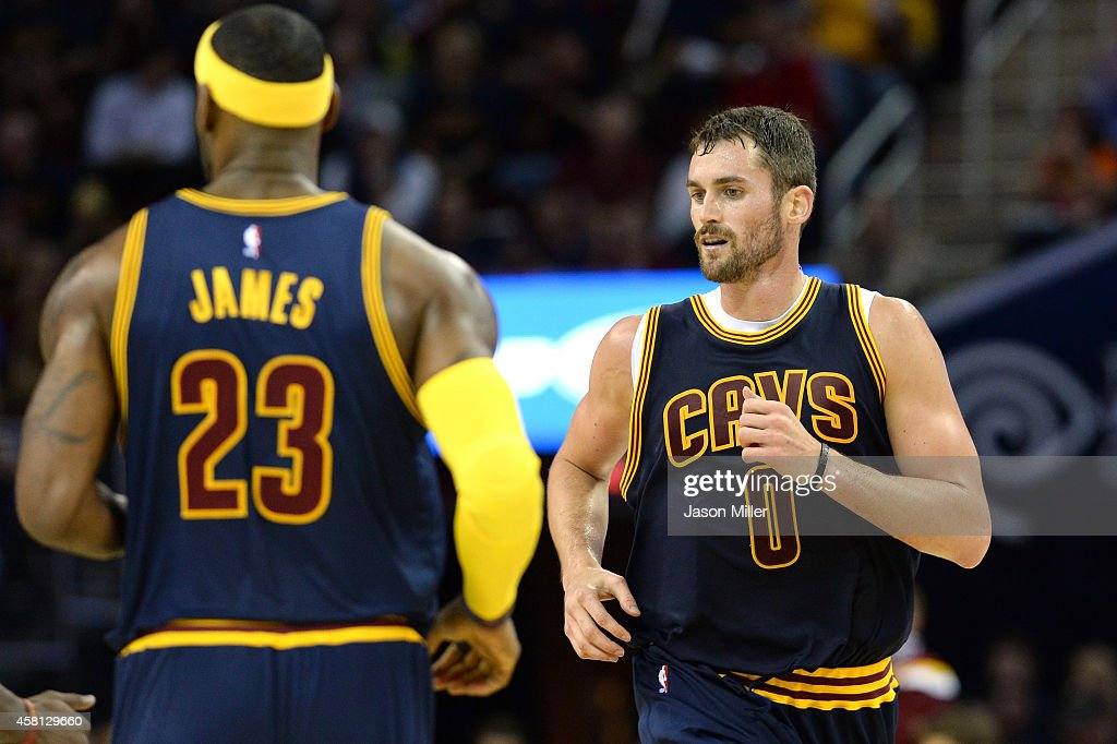 Kevin Love #0 of the Cleveland Carvaliers runs up court after a play in the second quarter against the New York Knicks at Quicken Loans Arena on October 30, 2014 in Cleveland, Ohio.