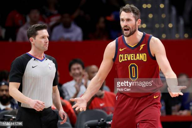 Kevin Love of the Cleveland Cavaliers argues a foul call against the Washington Wizards at Capital One Arena on November 08, 2019 in Washington, DC....