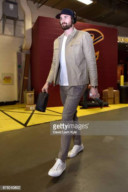 Kevin Love of the Cleveland Cavaliers arrives at the arena before Game Two of the Eastern Conference Semifinals against the Toronto Raptors during...
