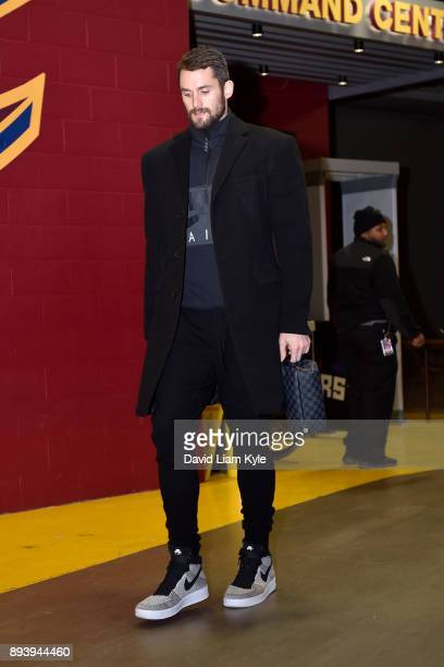 Kevin Love of the Cleveland Cavaliers arrives at the arena prior to the game against the Utah Jazz on December 16 2017 at Quicken Loans Arena in...