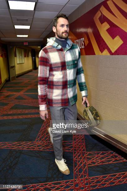 Kevin Love of the Cleveland Cavaliers arrives before the game against the Portland Trail Blazers on February 25 2019 at Quicken Loans Arena in...