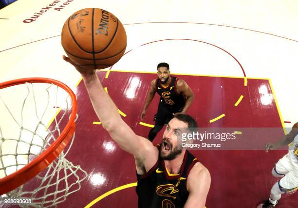 Kevin Love of the Cleveland Cavaliers attempts a layup against the Golden State Warriors in the first quarter during Game Three of the 2018 NBA...