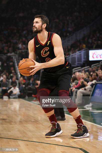 Kevin Love of the Cleveland Cavaliers attempts a shot in the first quarter against the Milwaukee Bucks at the Fiserv Forum on March 24 2019 in...