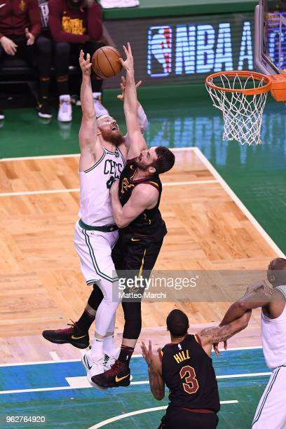 Kevin Love of the Cleveland Cavaliers blocks a shot made by Aron Baynes of the Boston Celtics during Game Five of the 2018 NBA Eastern Conference...