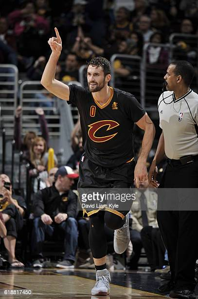 Kevin Love of the Cleveland Cavaliers celebrates a three point basket and runs up court against the New York Knicks on October 25 2016 at Quicken...
