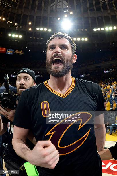 Kevin Love of the Cleveland Cavaliers celebrates after winning Game Seven of the 2016 NBA Finals against the Golden State Warriors on June 19 2016 at...