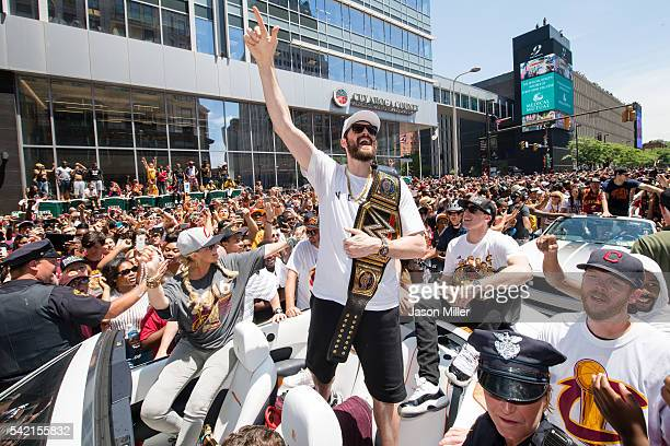Kevin Love of the Cleveland Cavaliers celebrates with fans during the Cleveland Cavaliers 2016 championship victory parade and rally on June 22 2016...