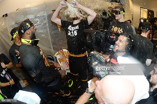 Kevin Love of the Cleveland Cavaliers celebrates with the Larry O'Brien NBA Championship Trophy after winning Game Seven of the 2016 NBA Finals...