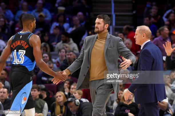 Kevin Love of the Cleveland Cavaliers celebrates with Tristan Thompson during the second half at Rocket Mortgage Fieldhouse on November 23 2019 in...