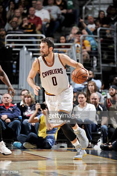 Kevin Love of the Cleveland Cavaliers drives to the basket against the Orlando Magic on October 29 2016 at Quicken Loans Arena in Cleveland Ohio NOTE...