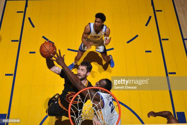 Kevin Love of the Cleveland Cavaliers drives to the basket against the Golden State Warriors in Game Five of the 2017 NBA Finals on June 12 2017 at...