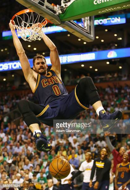 Kevin Love of the Cleveland Cavaliers dunks the ball in the first half against the Boston Celtics during Game Two of the 2017 NBA Eastern Conference...