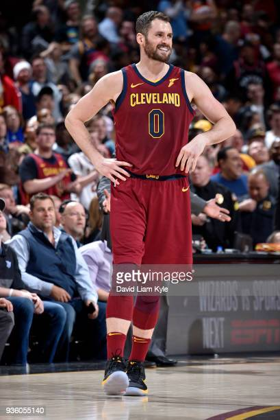Kevin Love of the Cleveland Cavaliers during a break in the action against the Toronto Raptors on March 21 2018 at Quicken Loans Arena in Cleveland...
