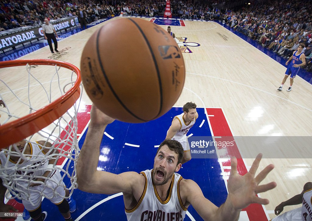 Kevin Love #0 of the Cleveland Cavaliers goes up for a rebound against the Philadelphia 76ers in the first half at Wells Fargo Center on November 5, 2016 in Philadelphia, Pennsylvania. The Cavaliers defeated the 76ers 102-101. The