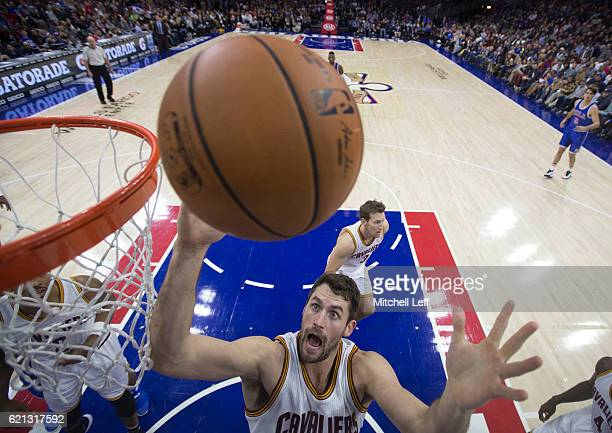 Kevin Love of the Cleveland Cavaliers goes up for a rebound against the Philadelphia 76ers in the first half at Wells Fargo Center on November 5 2016...