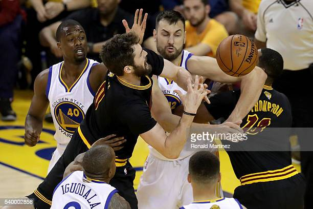 Kevin Love of the Cleveland Cavaliers goes up for a shot against Andrew Bogut of the Golden State Warriors in the first half in Game 5 of the 2016...