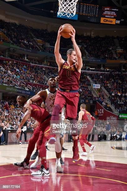 Kevin Love of the Cleveland Cavaliers handles the ball against the Indiana Pacers on November 1 2017 at Quicken Loans Arena in Cleveland Ohio NOTE TO...