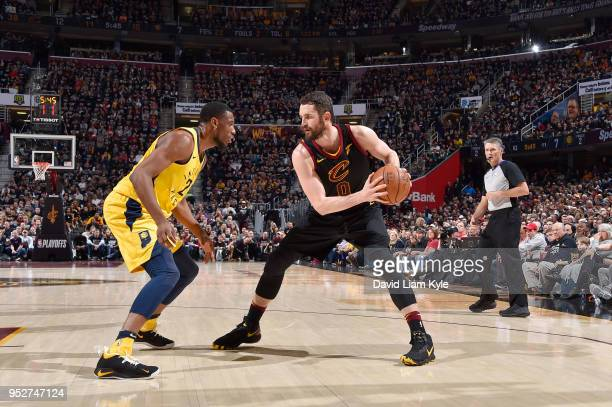 Kevin Love of the Cleveland Cavaliers handles the ball against the Indiana Pacers in Game Seven of Round One of the 2018 NBA Playoffs on April 29...