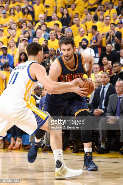Kevin Love of the Cleveland Cavaliers handles the ball during the game against the Golden State Warriors during Game One of the 2017 NBA Finals at...