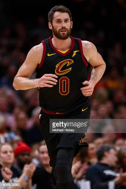Kevin Love of the Cleveland Cavaliers jogs up the court during the game against the Golden State Warriors at Quicken Loans Arena on January 15 2018...