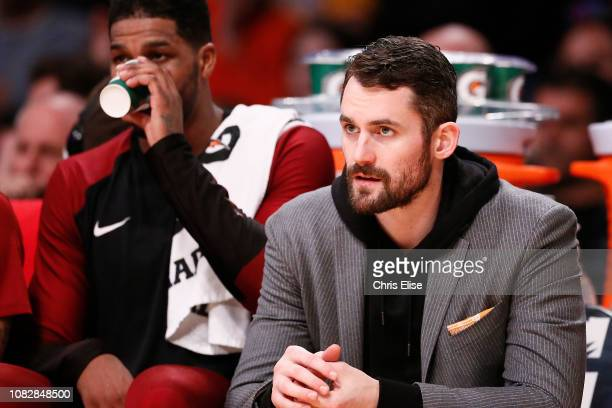 Kevin Love of the Cleveland Cavaliers looks on against the Los Angeles Lakers on January 13 2019 at STAPLES Center in Los Angeles California NOTE TO...