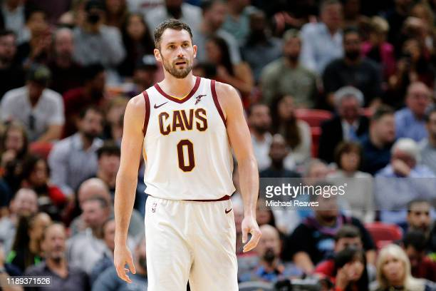 Kevin Love of the Cleveland Cavaliers looks on against the Miami Heat during the first half at American Airlines Arena on November 20, 2019 in Miami,...
