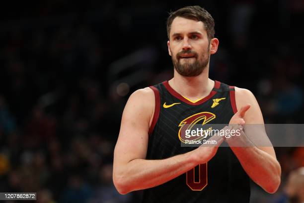 Kevin Love of the Cleveland Cavaliers looks on against the Washington Wizards during the first half at Capital One Arena on February 21, 2020 in...