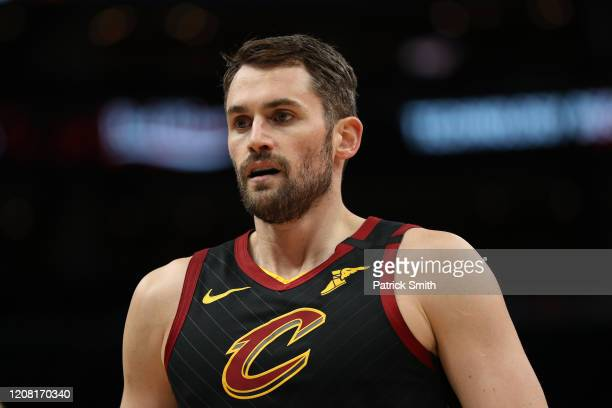 Kevin Love of the Cleveland Cavaliers looks on against the Washington Wizards at Capital One Arena on February 21, 2020 in Washington, DC.