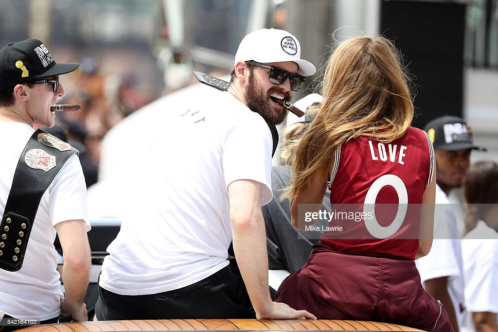 Kevin Love #0 of the Cleveland Cavaliers looks on during the Cleveland Cavaliers 2016 NBA Championship victory parade and rally on June 22, 2016 in Cleveland, Ohio.