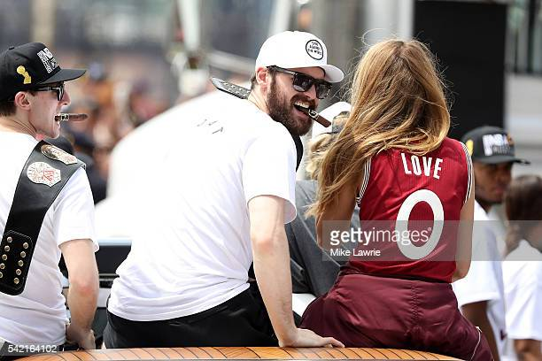 Kevin Love of the Cleveland Cavaliers looks on during the Cleveland Cavaliers 2016 NBA Championship victory parade and rally on June 22 2016 in...