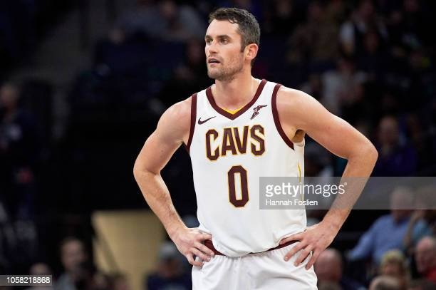 Kevin Love of the Cleveland Cavaliers looks on during the game against the Minnesota Timberwolves on October 19 2018 at the Target Center in...