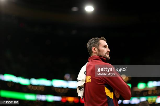 Kevin Love of the Cleveland Cavaliers looks on during the game against the Boston Celtics at TD Garden on December 09, 2019 in Boston, Massachusetts.