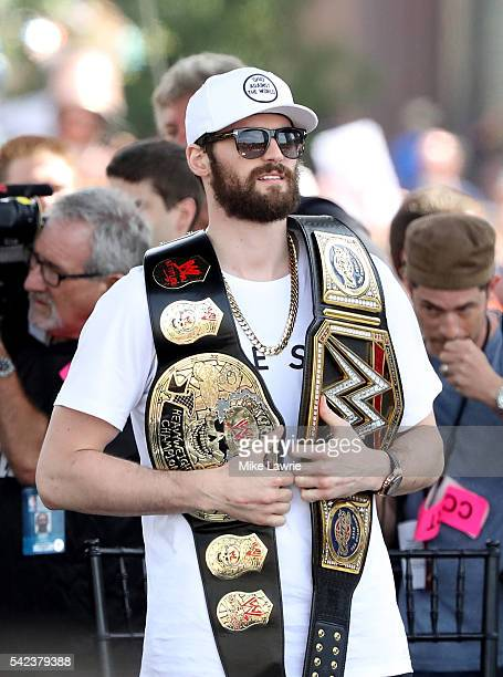 Kevin Love of the Cleveland Cavaliers looks on from stage during the Cleveland Cavaliers 2016 NBA Championship victory parade and rally on June 22...